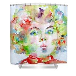 Shirley Temple - Watercolor Portrait.2 Shower Curtain by Fabrizio Cassetta