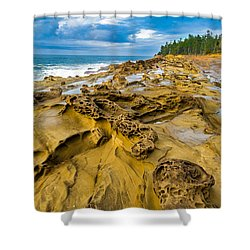 Shore Acres Sandstone Shower Curtain by Robert Bynum