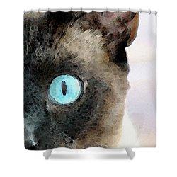 Siamese Cat Art - Half The Story Shower Curtain by Sharon Cummings