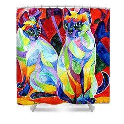 Siamese Sweethearts Shower Curtain by Sherry Shipley
