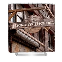 Sign - Hickory Dickory - West Bottoms Shower Curtain by Liane Wright