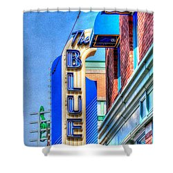 Sign - The Blue Room - Jazz District Shower Curtain by Liane Wright