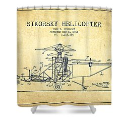 Sikorsky Helicopter Patent Drawing From 1943-vintage Shower Curtain by Aged Pixel