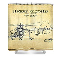 Sikorsky Helicopter Patent Drawing From 1943-vintgae Shower Curtain by Aged Pixel