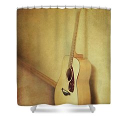 Silent Guitar Shower Curtain by Priska Wettstein