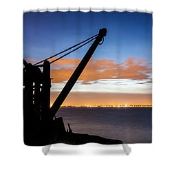 Silhouette Of Davit Shower Curtain by Semmick Photo