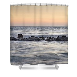 Silver Sea At Sunset Shower Curtain by Guido Montanes Castillo