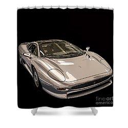 Silver Sports Car Shower Curtain by Edward Fielding