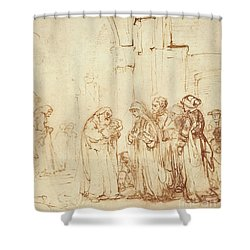 Simeon And Jesus In The Temple Shower Curtain by Rembrandt Harmenszoon van Rijn