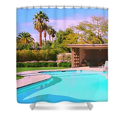 Sinatra Pool Cabana Palm Springs Shower Curtain by William Dey