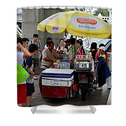 Singapore Ice Cream Man And Bicycle Swamped By Students Shower Curtain by Imran Ahmed
