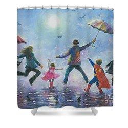 Singing In The Rain Super Hero Kids Shower Curtain by Vickie Wade