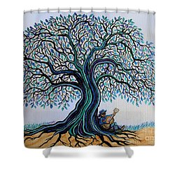 Singing Under The Blues Tree Shower Curtain by Nick Gustafson