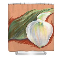 Single Calla Lily And Leaf Shower Curtain by MM Anderson