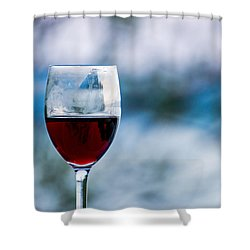 Single Glass Of Red Wine On Blue And White Background Shower Curtain by Photographic Arts And Design Studio