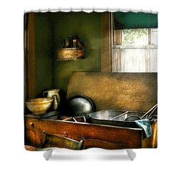 Sink - The Kitchen Sink Shower Curtain by Mike Savad