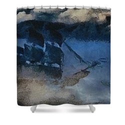 Sinking Sailer Shower Curtain by Ayse Deniz