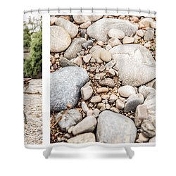 Sit Down... Stones White Shower Curtain by Hannes Cmarits