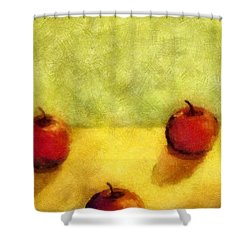 Six Apples Shower Curtain by Michelle Calkins