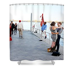 Skater And Couples Shower Curtain by Valentino Visentini