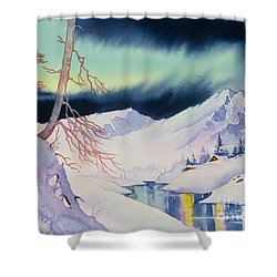 Ski Trail Shower Curtain by Teresa Ascone