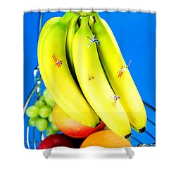 Skiing On Banana Little People On Food Shower Curtain by Paul Ge