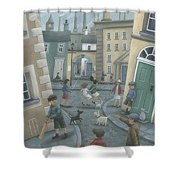 Skipping By The Green Door Shower Curtain by Peter Adderley