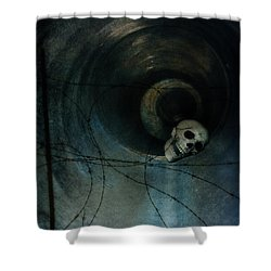 Skull In Drainpipe Shower Curtain by Jill Battaglia