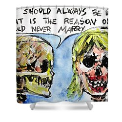Skull Quoting Oscar Wilde.5 Shower Curtain by Fabrizio Cassetta