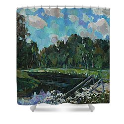 Sky In The River Shower Curtain by Juliya Zhukova