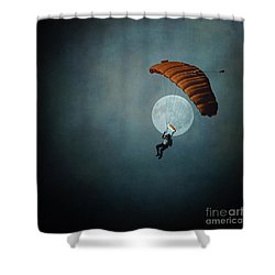 Skydiver's Moon Shower Curtain by Trish Mistric