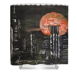 Skyrise Moon Shower Curtain by PainterArtist FIN