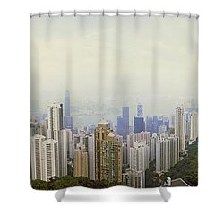 Skyscrapers In A City, Hong Kong, China Shower Curtain by Panoramic Images