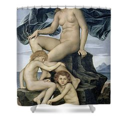 Sleep And Death The Children Of The Night Shower Curtain by Evelyn De Morgan