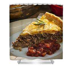 Slice Of Tourtiere Meat Pie  Shower Curtain by Elena Elisseeva