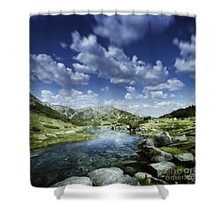 Small Stream In The Mountains Of Pirin Shower Curtain by Evgeny Kuklev