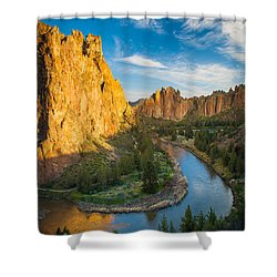 Smith Rock River Bend Shower Curtain by Inge Johnsson