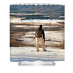 Snow Boarder Planning His Run Shower Curtain by Dan Friend
