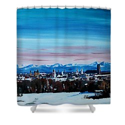 Snow Covered Munich Winter Panorama With Alps Shower Curtain by M Bleichner