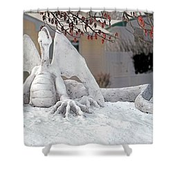 Snow Dragon 3 Shower Curtain by Terry Reynoldson