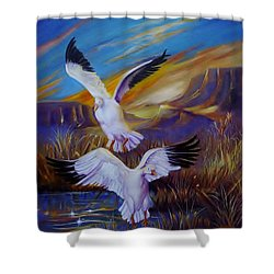 Snow Geese Shower Curtain by Sherry Strong