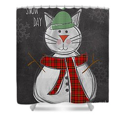 Snow Kitten Shower Curtain by Linda Woods
