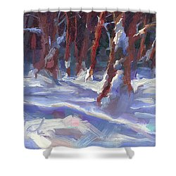 Snow Laden - Winter Snow Covered Trees Shower Curtain by Talya Johnson