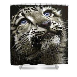 Snow Leopard Cub Shower Curtain by Jurek Zamoyski