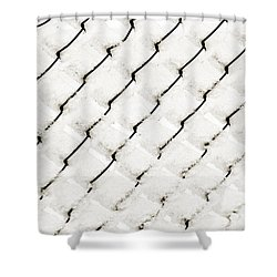 Snow Link Fence Shower Curtain by Andee Design