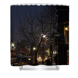 Snow On G Street 4 - Old Town Grants Pass Shower Curtain by Mick Anderson