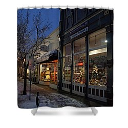 Snow On G Street - Old Town Grants Pass Shower Curtain by Mick Anderson