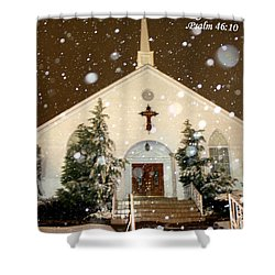 Snowing At The Chapel Shower Curtain by Kathy  White