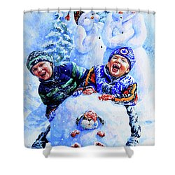 Snowmen Shower Curtain by Hanne Lore Koehler