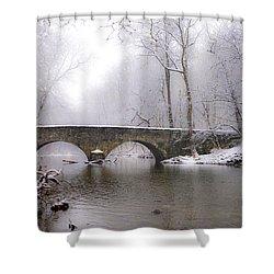 Snowy Bells Mill Road Bridge Shower Curtain by Bill Cannon